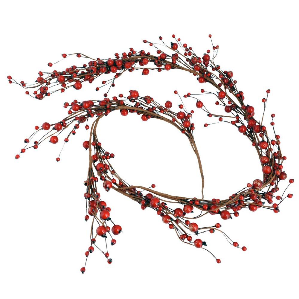 Girlande mit kuenstlichen Beeren, rot, L125