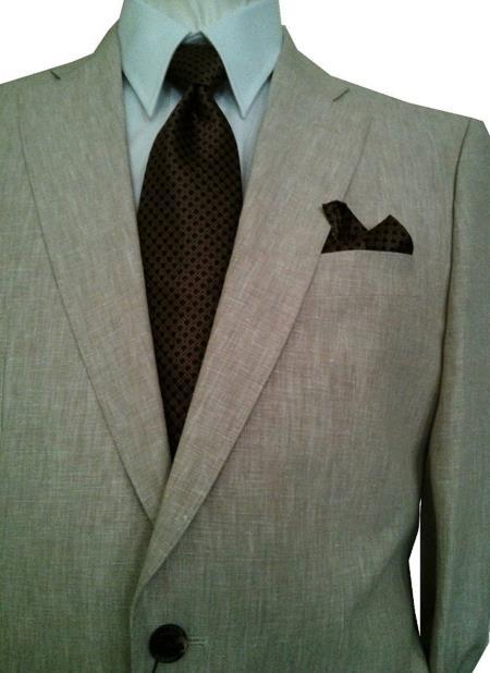 Men's 2 Button Solid Beige Notch Lapel 1 Linen Single Breasted Suit