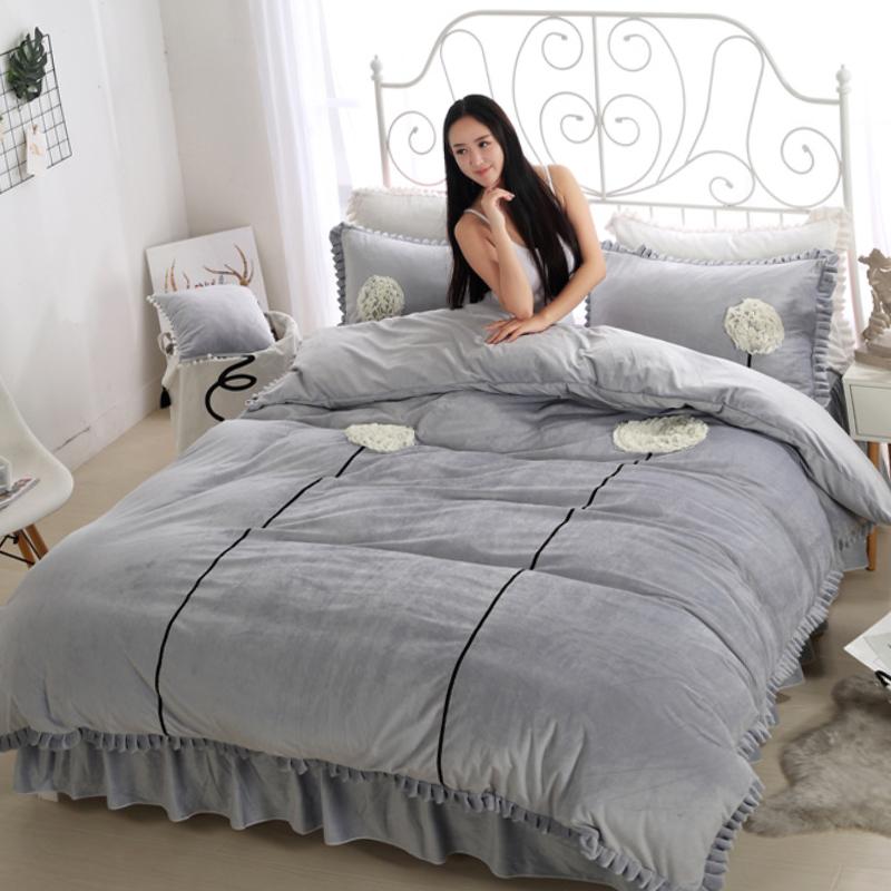Dandelion Pattern Pure Color Crystal Velvet 4-Piece Bedding Sets/Duvet Cover