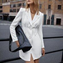 Blazer Kleid mit eingekerbtem Kragen und Falten