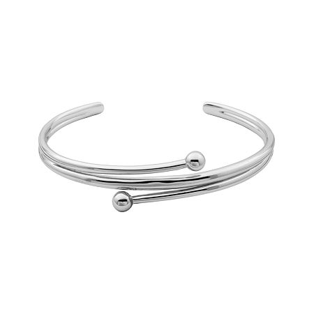 Sterling Silver Double Bead Cuff Bracelet, One Size , No Color Family