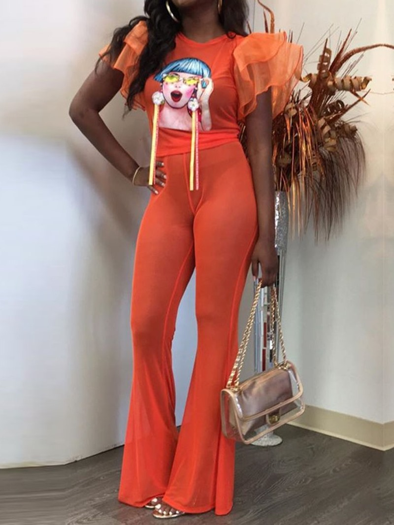 Ericdress Cartoon ,See-Through Ruffles Bellbottoms Women's Suit T-Shirt And Pants Two Piece Sets