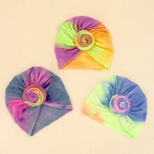 3pcs Baby Tie Dye Pattern Turban Hat