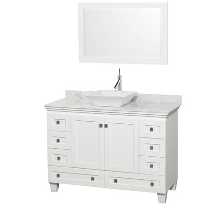 WCV800048SWHCMD2WM24 48 in. Single Bathroom Vanity in White  White Carrera Marble Countertop  Pyra White Sink  and 24 in.