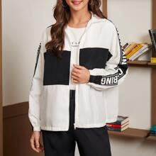 Letter Graphic Color Block Zip Up Windbreaker Jacket