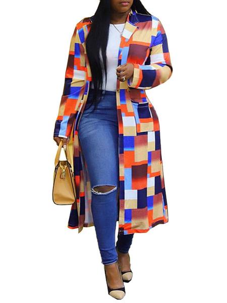 Milanoo Mujer de la capa a cuadros cuello de cobertura Botones capa ocasional azul del invierno