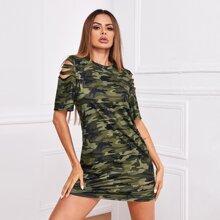 T-Shirt Kleid mit Riss an Ärmeln und Camo Muster