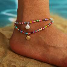 2pcs Shell Beaded Anklet
