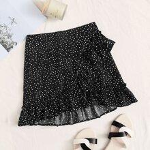 Polka Dot Ruffle Hem Mini Skirt