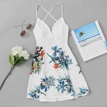 Kleid mit Kreuzgurt hinten, Spitzeneinsatz und Pflanzen Muster