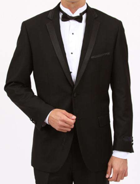 Black Slim Fit 1 Button Tuxedo with Side Vents
