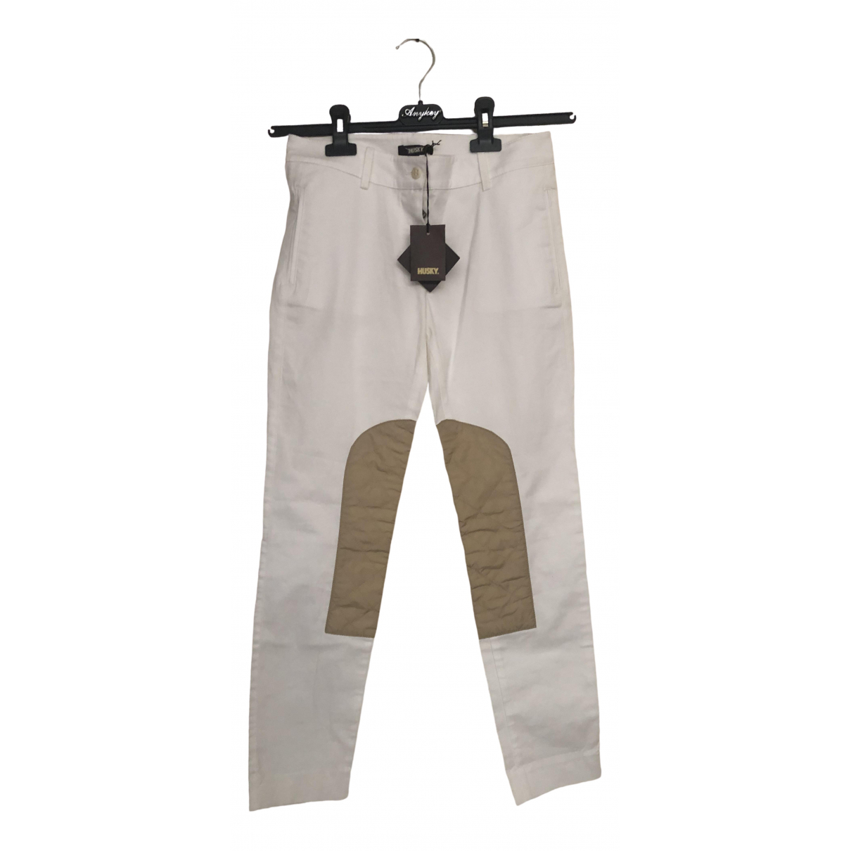 Pantalon en Algodon Blanco Husky