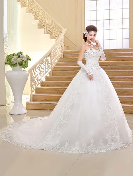 Milanoo Vestido de novia princesa Con cola sin mangas De banda de encaje estilo princesa