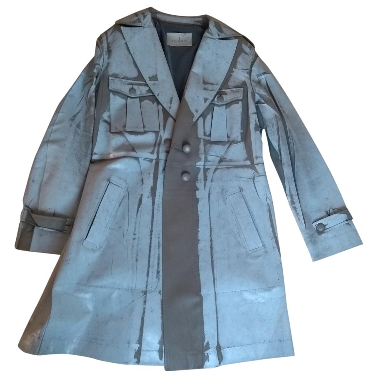 Trussardi - Trench   pour femme en cuir - gris