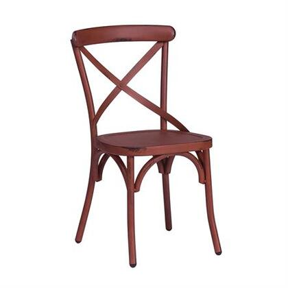 Vintage Series Collection 179-C3005-Red X Back Side Chair with Classic Vintage Styling  Unique Designer Look and Heavy Distressing in Distressed