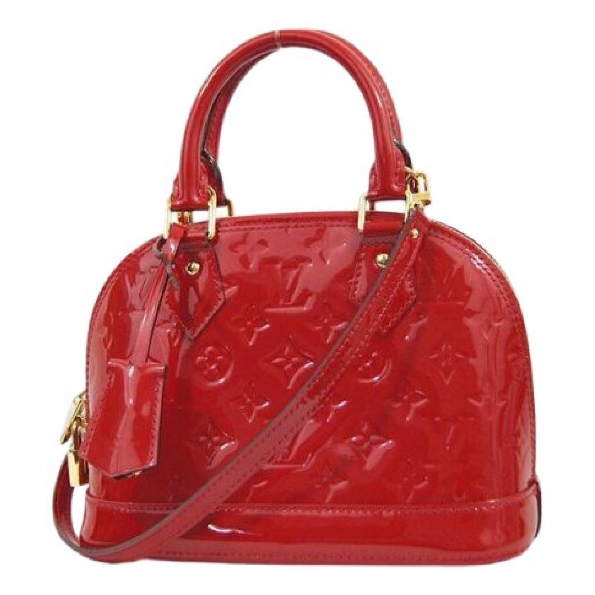 Louis Vuitton - Sac a main Alma BB pour femme en cuir verni - rouge