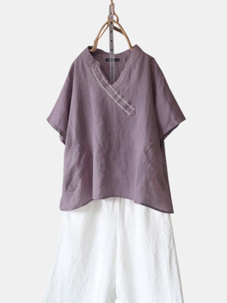 Solid Color Short Sleeve V-neck Plus Size Blouse