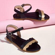 Toddler Girls Scallop Trim Ankle Strap Sandals