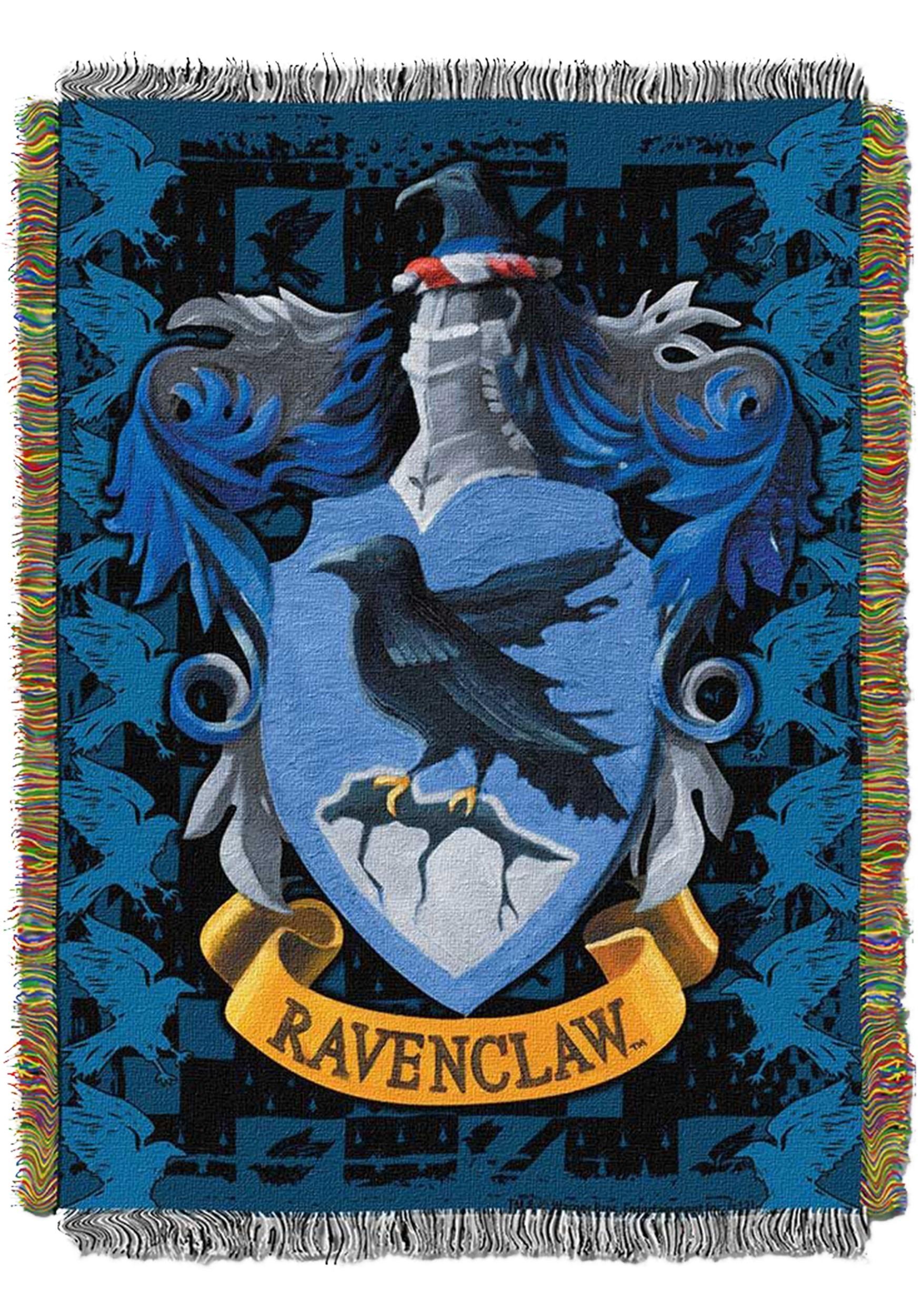 Detailed Harry Potter Ravenclaw Crest Woven Tapestry Blanket