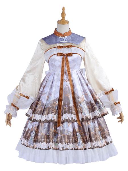 Milanoo Estilo chino Lolita OP Dress Cross Lily Skeleton Print Qi Lolita Vestidos de una pieza