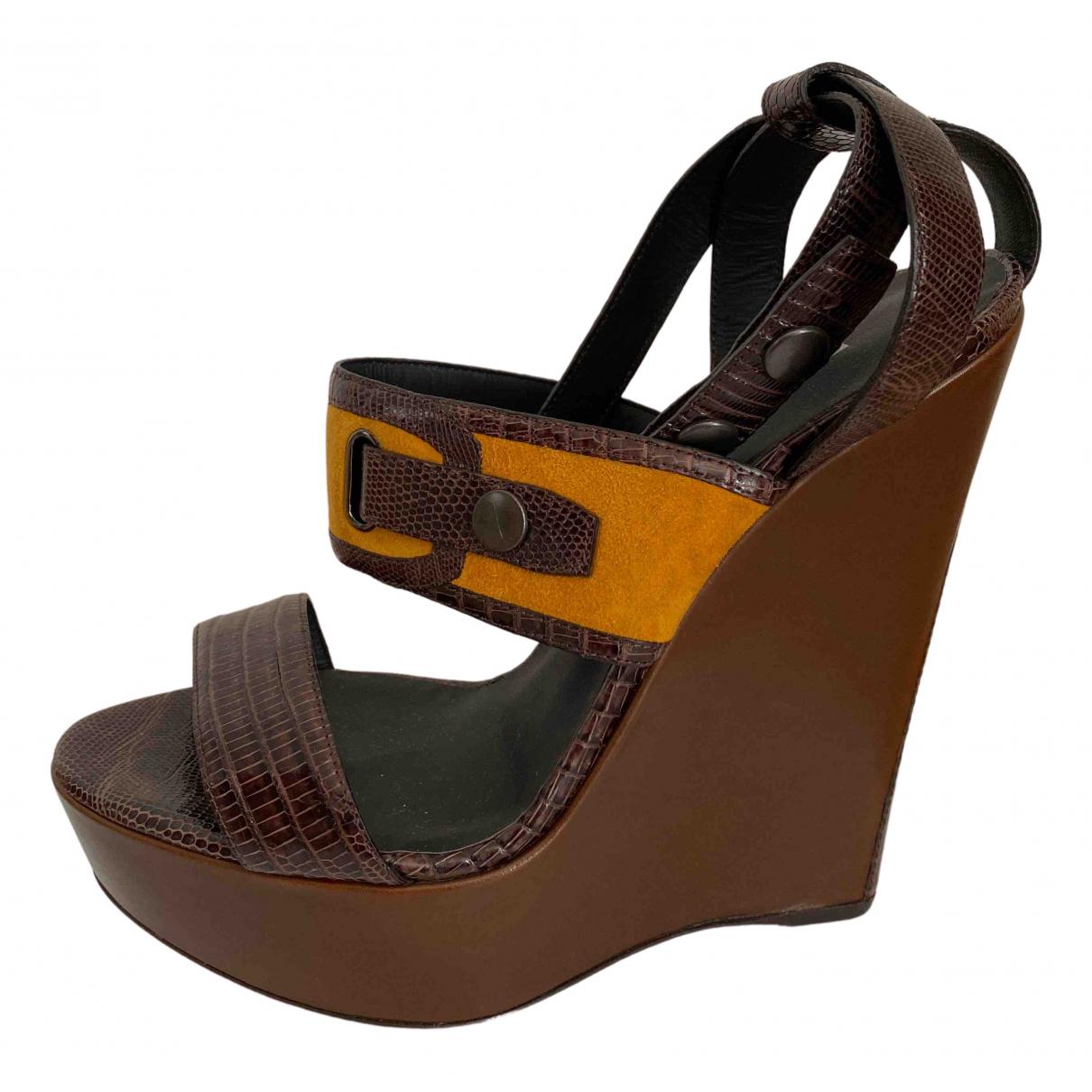 Belstaff N Brown Water snake Heels for Women 37.5 EU