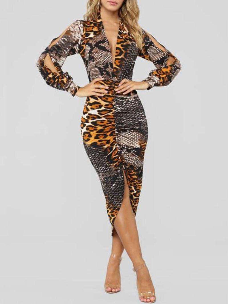 Ericdress Long Sleeve Print V-Neck Bodycon Leopard Dress