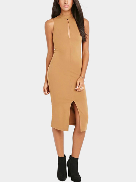 Yoins Sleeveless High Neck Bodycon Midi Dress