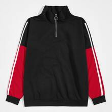 Sweatshirt mit seitlichem Streifen, O-Ring und halber Leiste