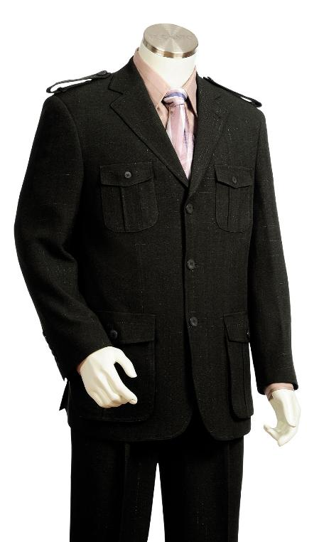3 Button Black Safari Military Style Zoot Suit Mens