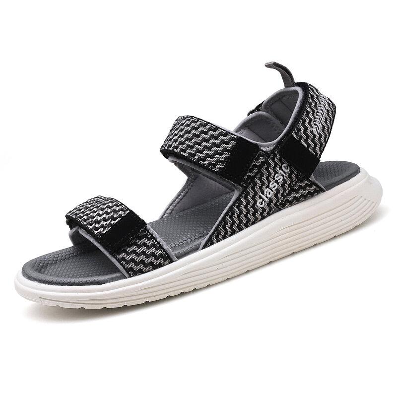 Men Stylish Fabric Breathable Hook Loop Casual Beach Sandals