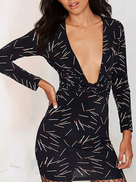 Yoins Match Print Plunging Bodycon Dress