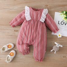 Baby Girl Striped Eyelet Embroidered Jumpsuit