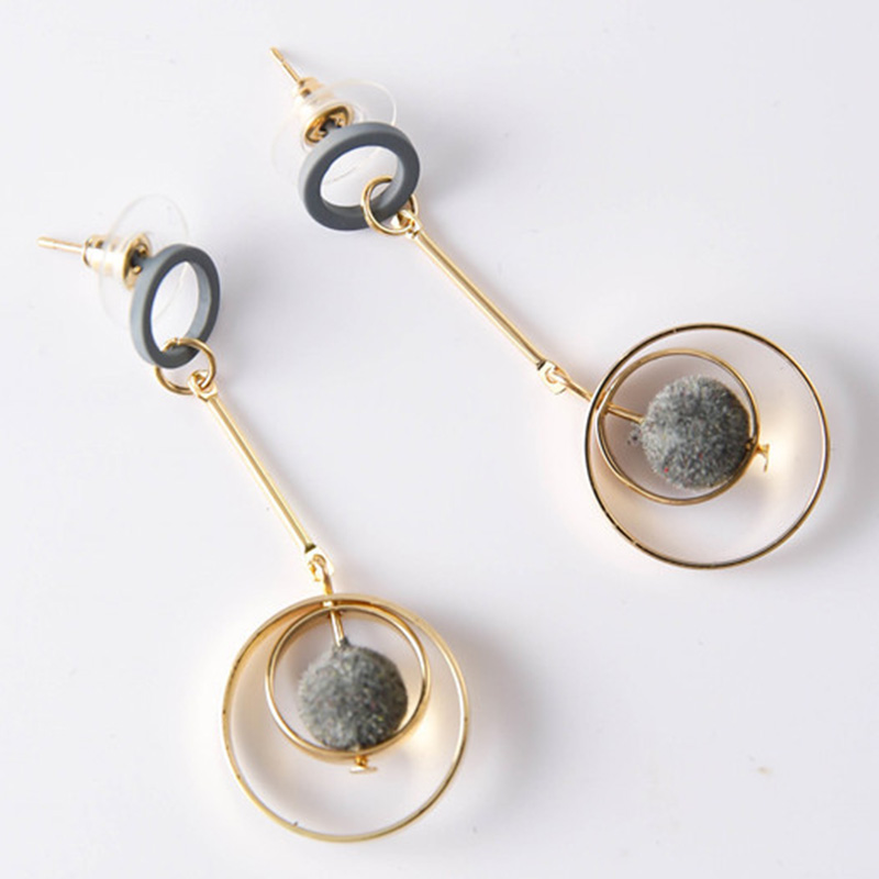 Amazing Circle with Little Pompon Design Alloy Pendant Earring