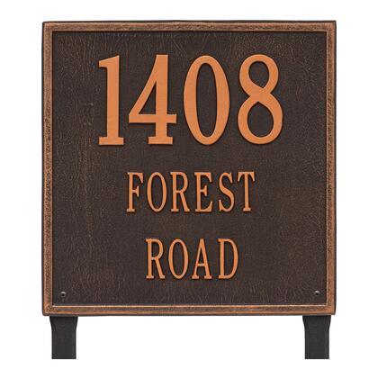 2121OB Personalized Square Plaque - Estate - Lawn - 3 line in Oil Rubbed