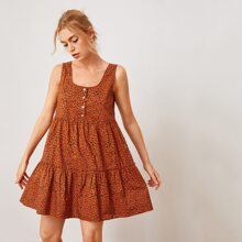 Buttoned Front Frill Trim Allover Print Smock Dress