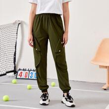 Hose mit elastischer Taille und Taschen Klappen