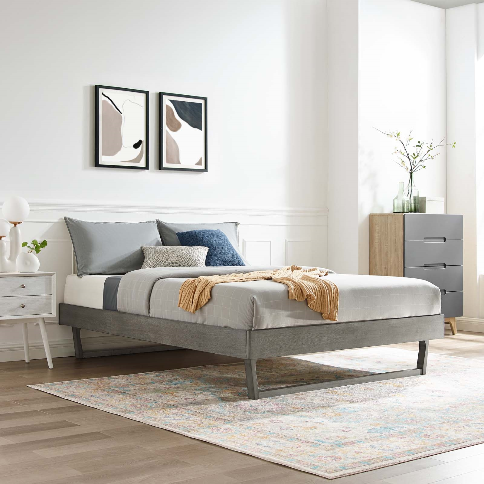 Billie King Wood Platform Bed Frame in Gray