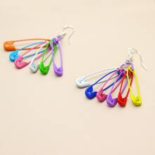 Safety Pin Charm Drop Earrings