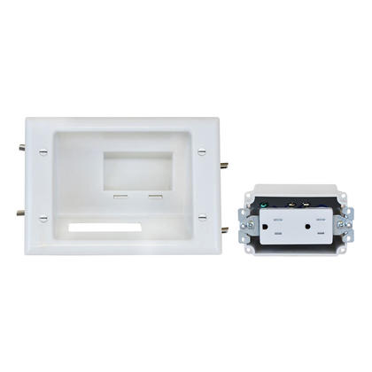 Recessed Low Voltage Mid-Size Plate with Duplex Receptacle, White - Monoprice®