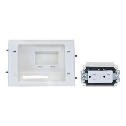 Plaque de taille moyenne encastrée basse tension avec réceptacle duplex, blanc - Monoprice®