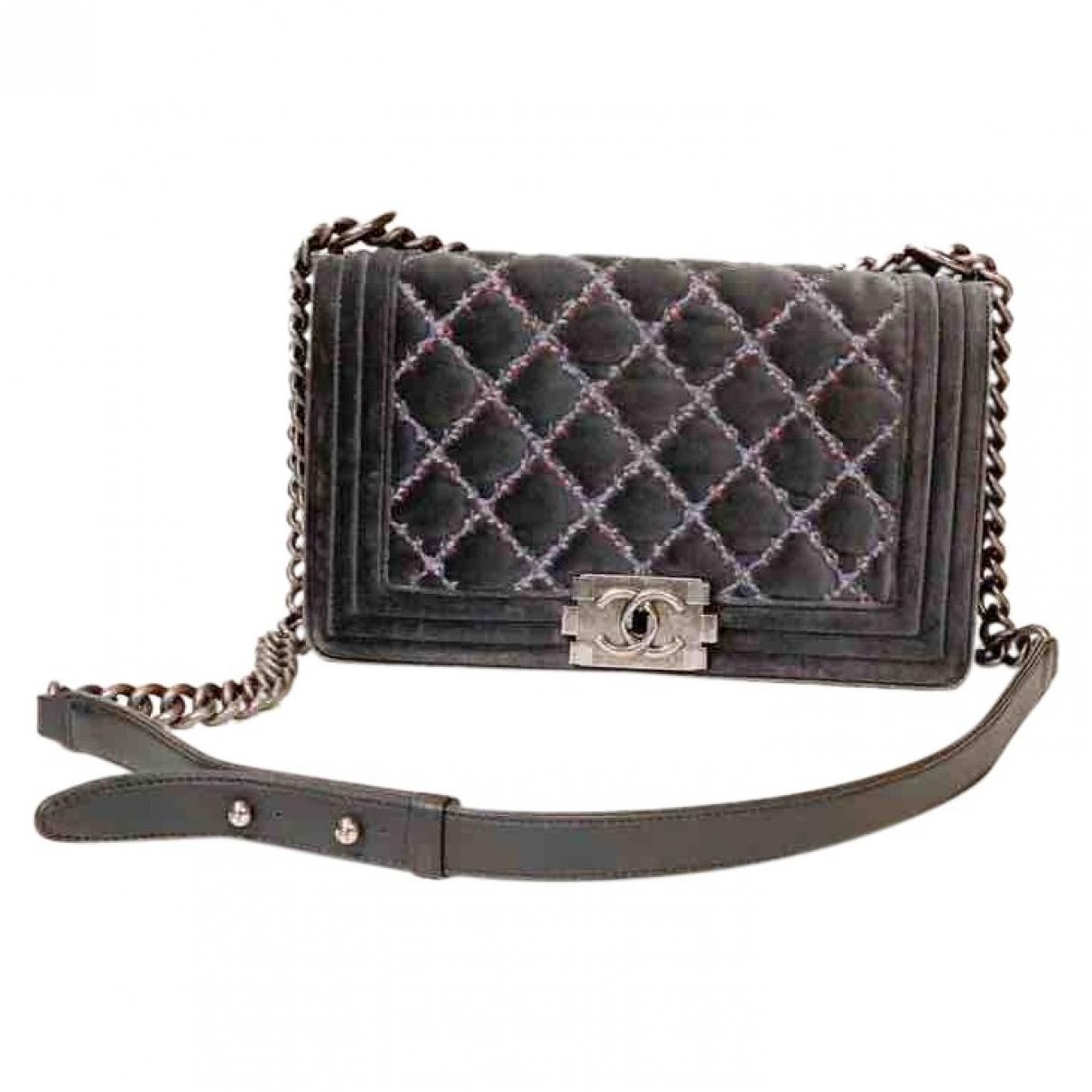 Chanel Boy Grey Velvet handbag for Women \N