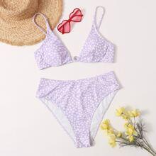 Grosse Grossen - Bikini Badeanzug mit Dalmatiner Muster und hoher Taille