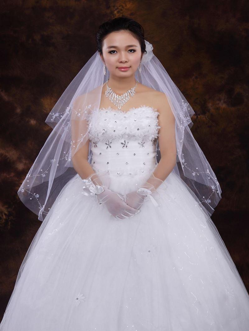 Elbow Wedding Veil With Beading Edge