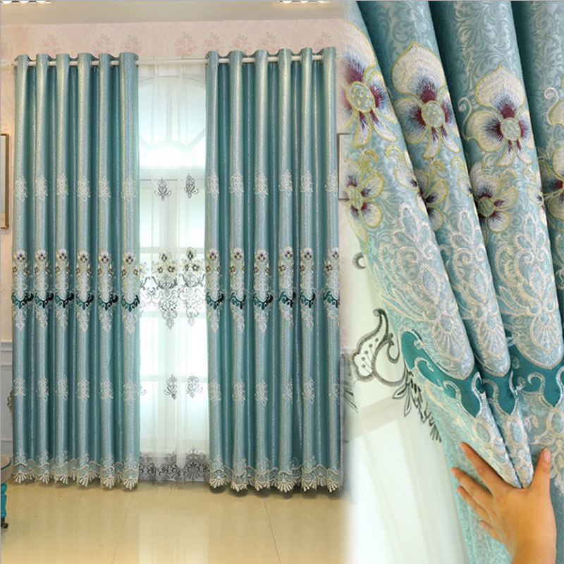 Blackout Embroidered Grommet Curtains Polyester Heat Insulation Decoration Living Room Bedroom Curtain Sets No Pilling No Fading No off-lining