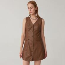V-neck Single Breasted Placket Flap Detail PU Vest Dress