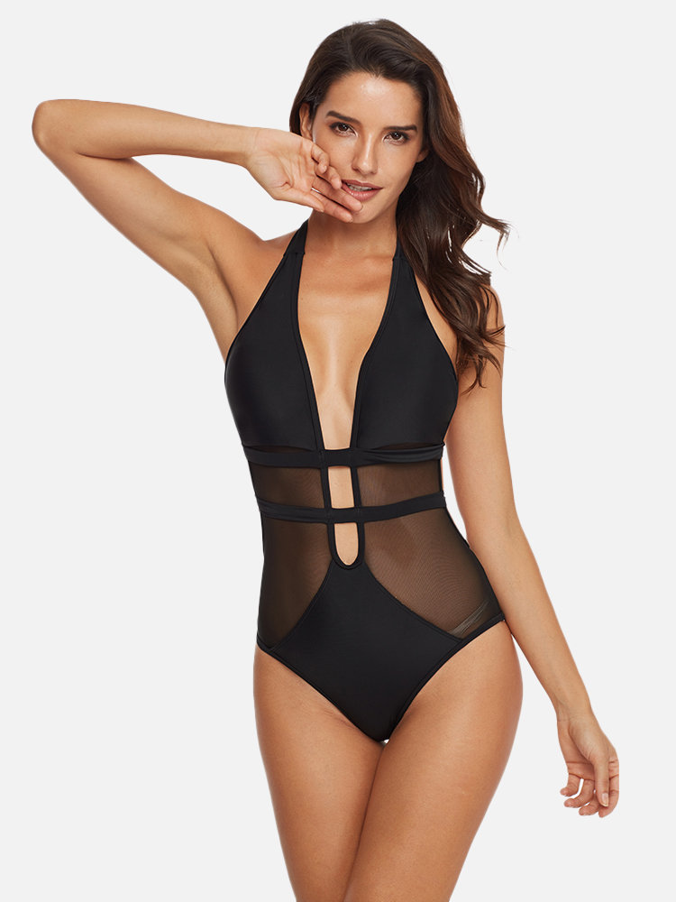 Mesh Halter Sexy Slimming One Piece Backless Women Bathing Suits Black Swimwear By Newchic