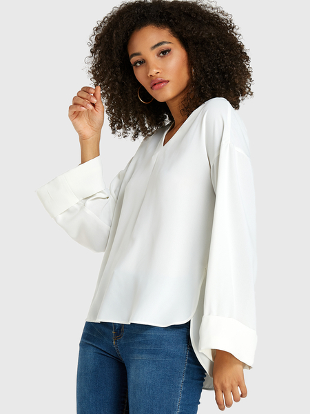 Yoins White Slit Design V-neck Long Sleeves Blouse