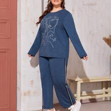 Plus Figure Graphic Tee and Striped Tape Side Pants Set