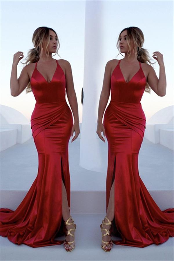 Gorgeous Red Halter Elegant Lace Up Prom Dresses   Sleeveless Ruffles Sexy Mermaid Side Slit Evening Dresses