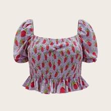 Schulterfreies Top mit Erdbeere Muster und Schosschen